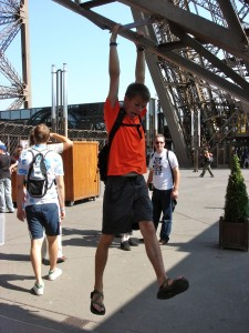 Me climbing the Eiffel Tower.