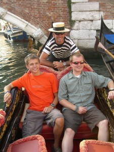 My brother and I on a Gondola in Venice.